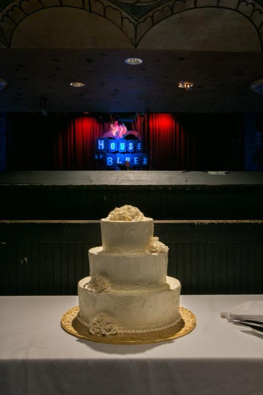 wedding cake at house of blues reception