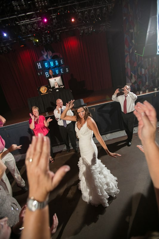 bride with tophat dancing