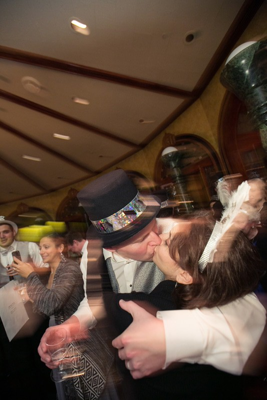 kissing at new years eve wedding reception at tangier