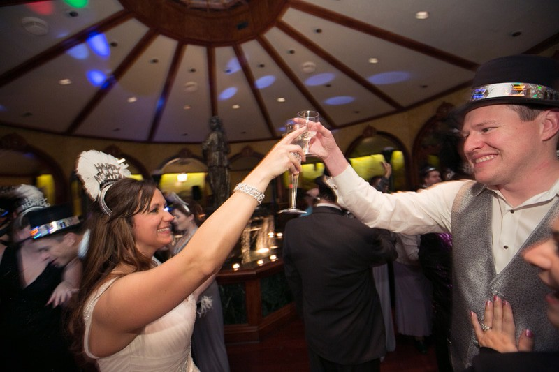 bride and groom toast new year at tangier wedding reception