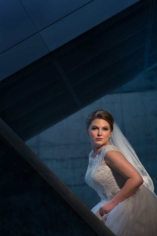 wedding day picture of bride at akron art museum