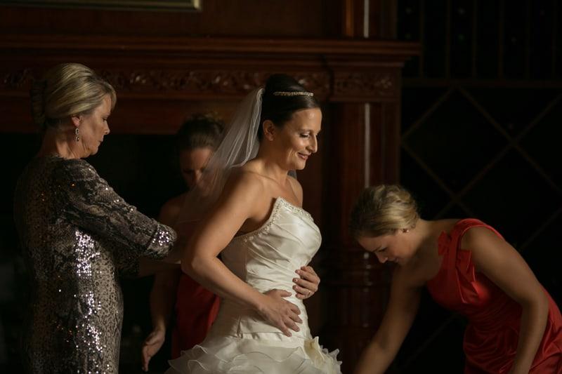 bride putting on her wedding dress at tangier