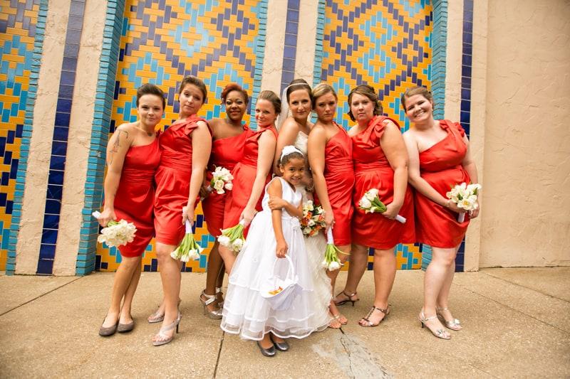 bridesmaids on wedding day at tangier
