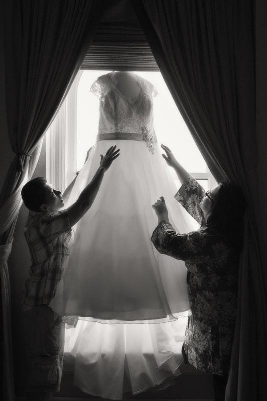 getting wedding dress at hyatt regency