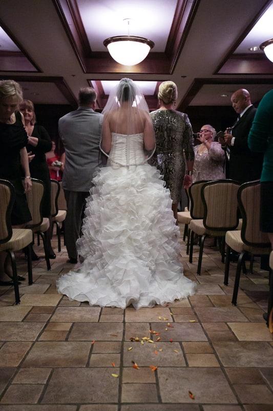 bride walking down aisle at wedding at tangier
