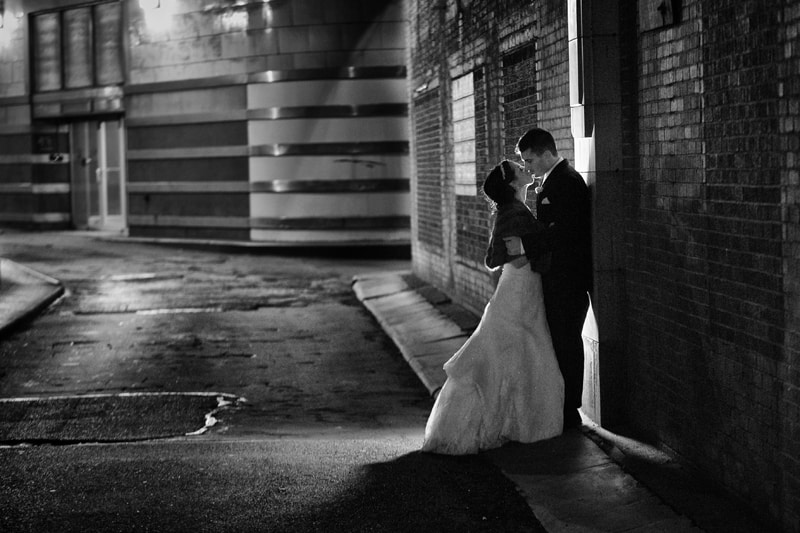 bride and groom in cleveland alley