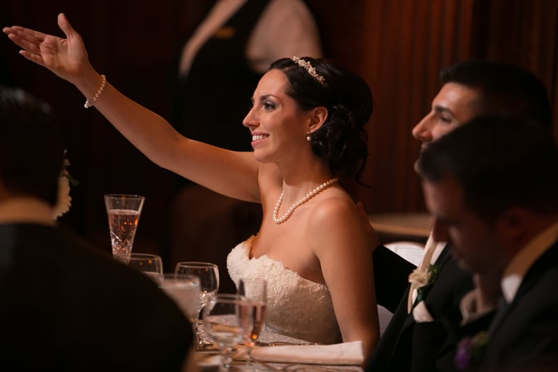 bride reacting to dad's speech