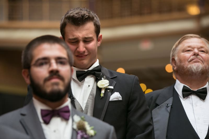 groom at his wedding at cleveland arcade