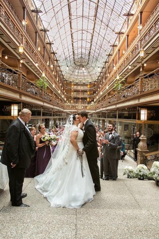 first kiss at wedding at cleveland arcade