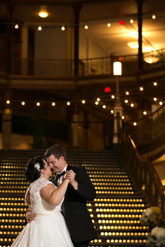 bride and groom dancing at their cleveland arcade wedding reception