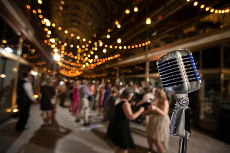 guests dancing at cleveland arcade wedding reception