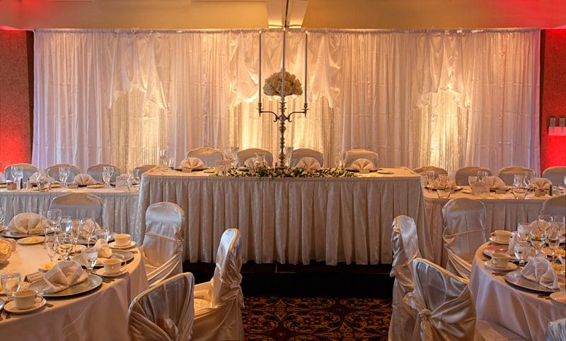 head table at fireston country club wedding reception
