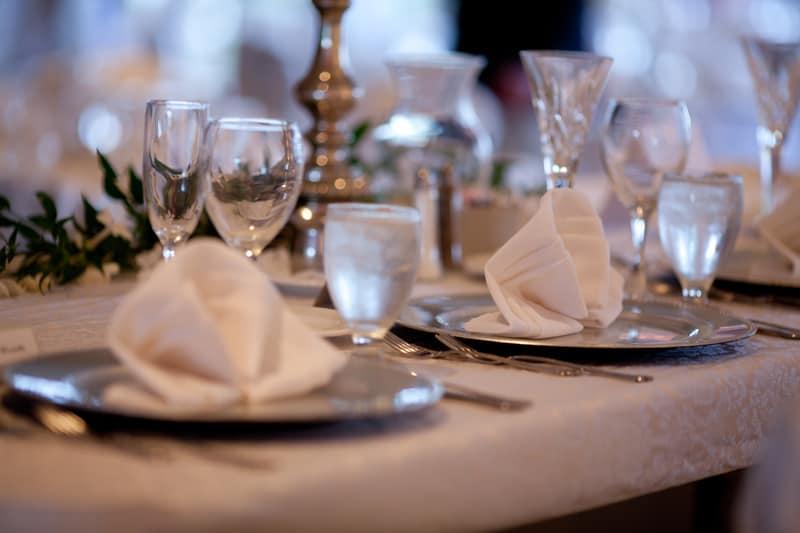 table detail at firestone wedding reception