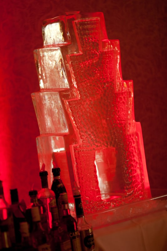 ice scuplture at wedding reception bar