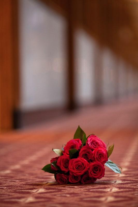 wedding flowers in hall of hyatt regency in cleveland