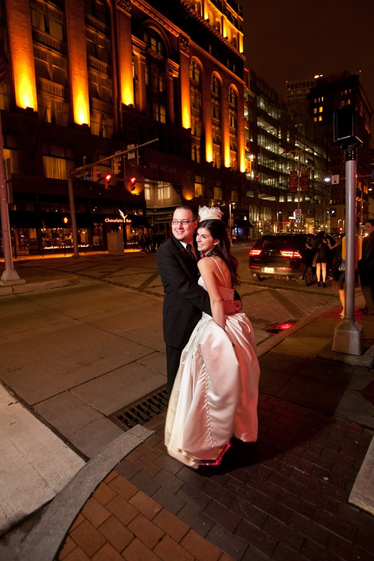 wedding picture at night in cleveland