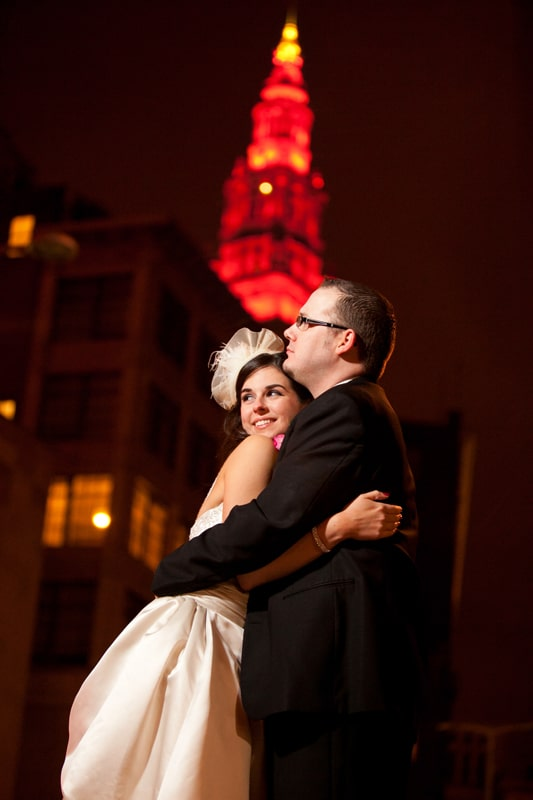 night wedding picture in cleveland