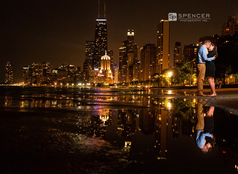 chicago skyine engagement picture