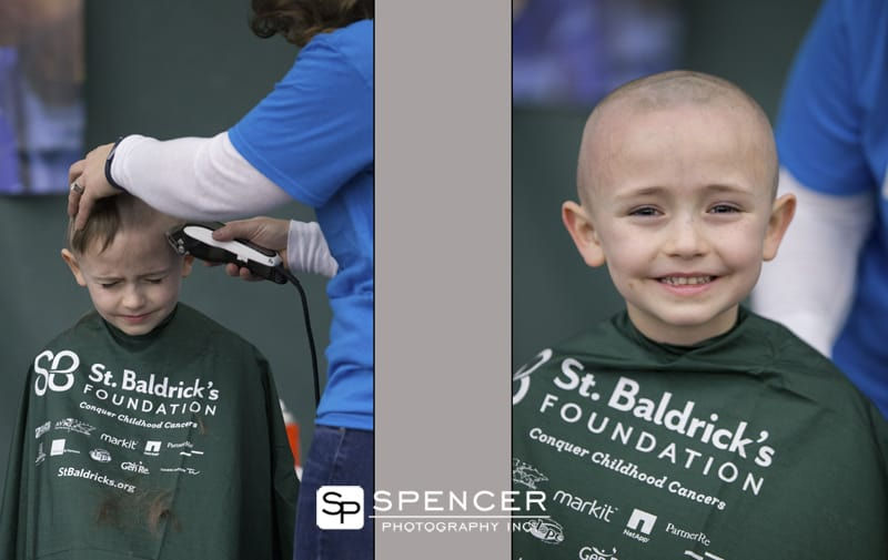 little boy participating in St. Baldrick's Foundation Fundraiser