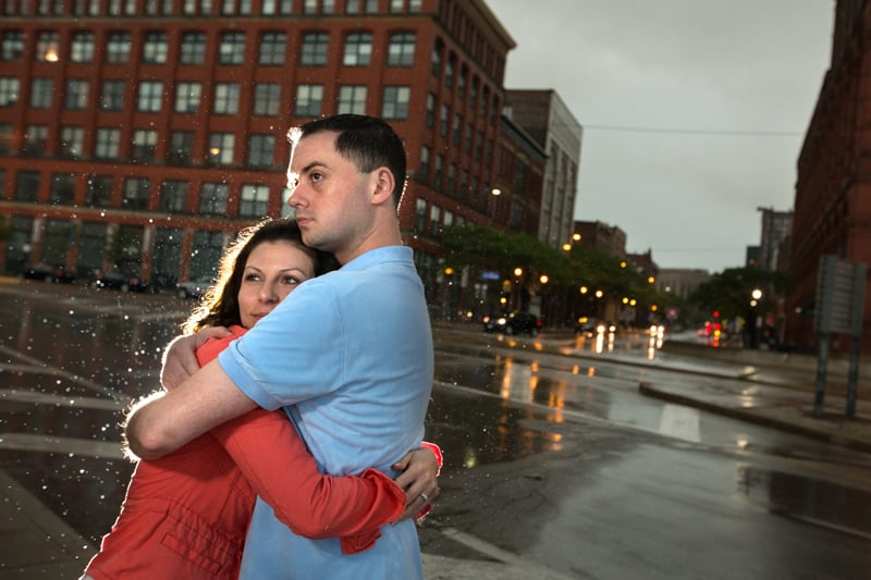 couple hugging in cleveland engagement session