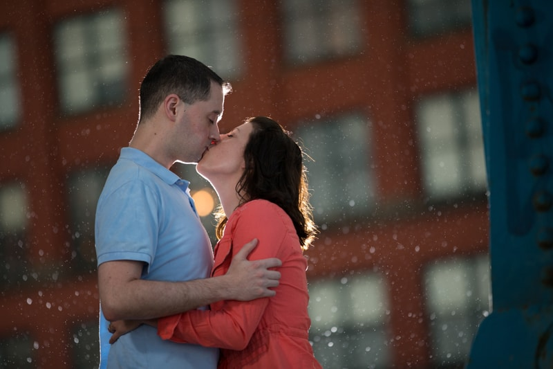 couple kissing downtown cleveland engagement session