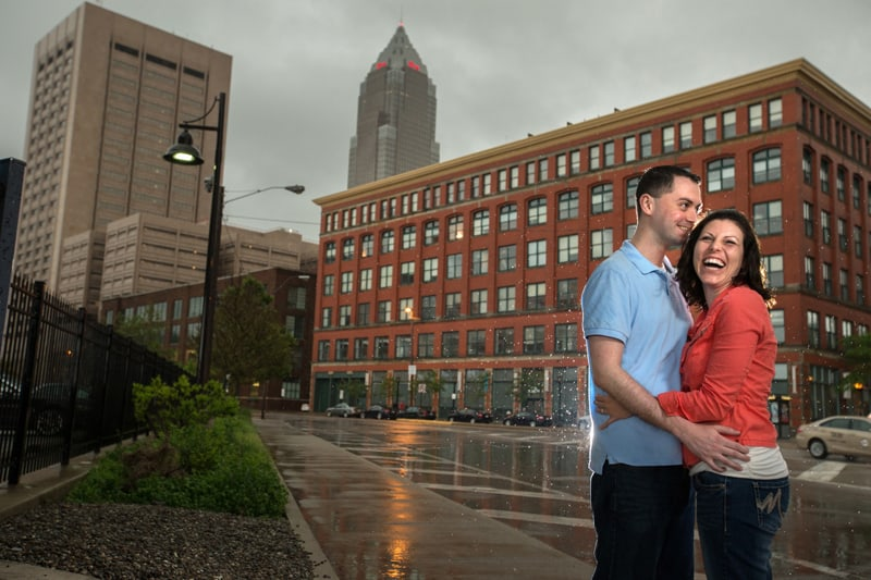 couple laughing at cleveland photo session