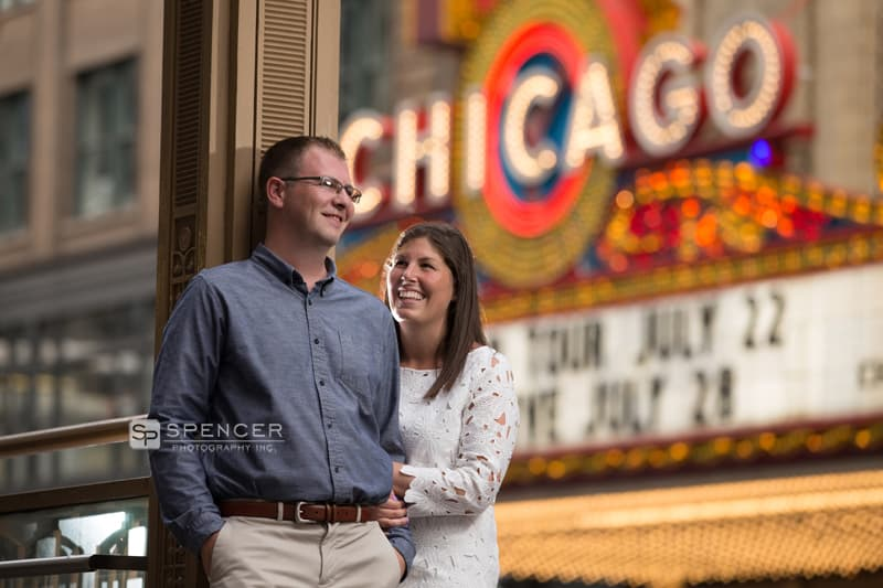 engagement picture in front of chicago theater