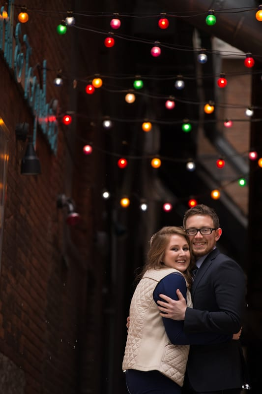 engagement picture on cleveland east fourth street