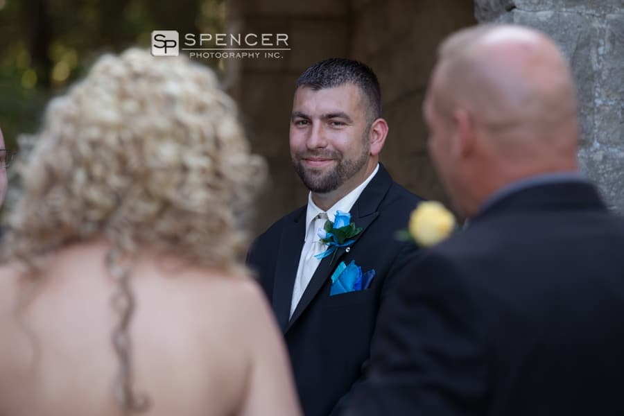 groom seeing bride at ceremony for first time