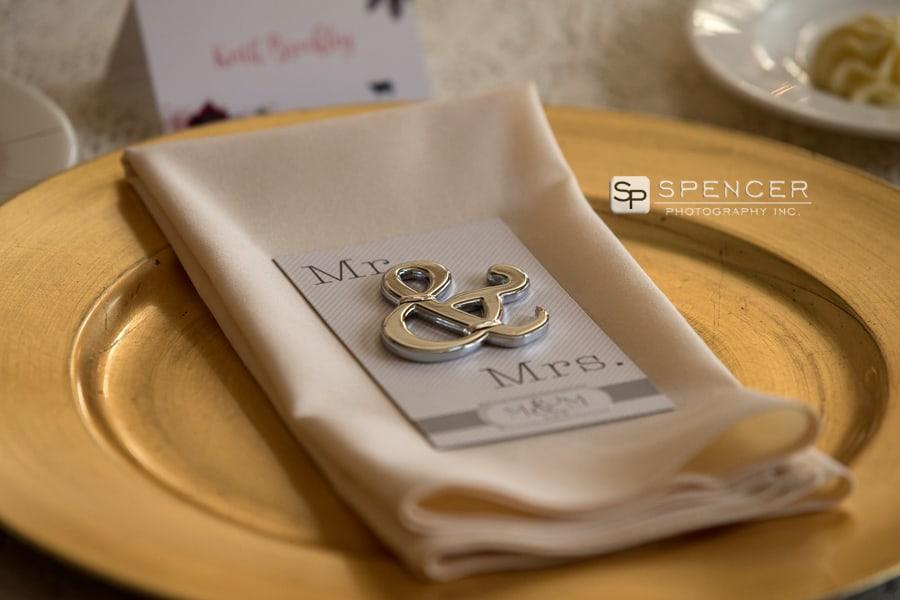 table setting at greystone hall wedding reception