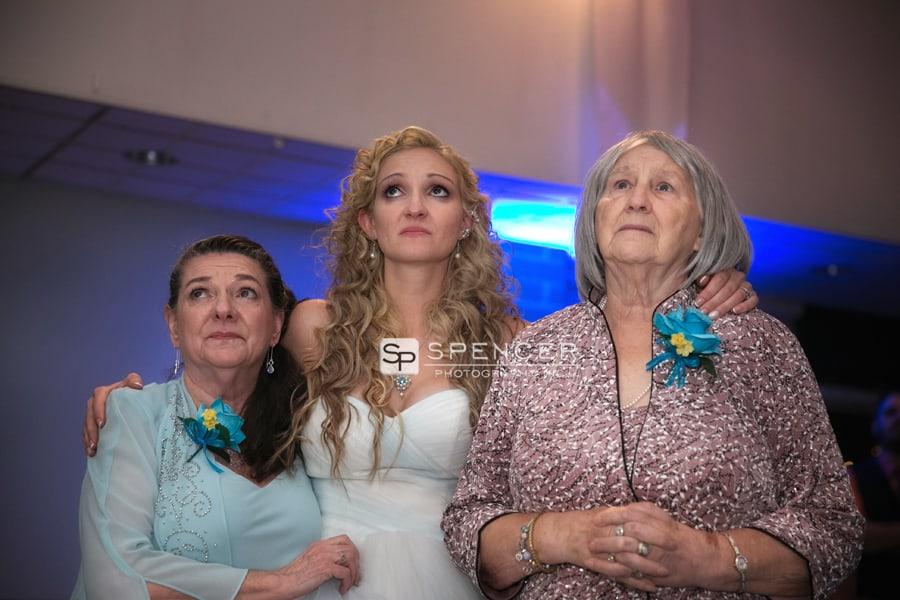 three generations of women at wedding