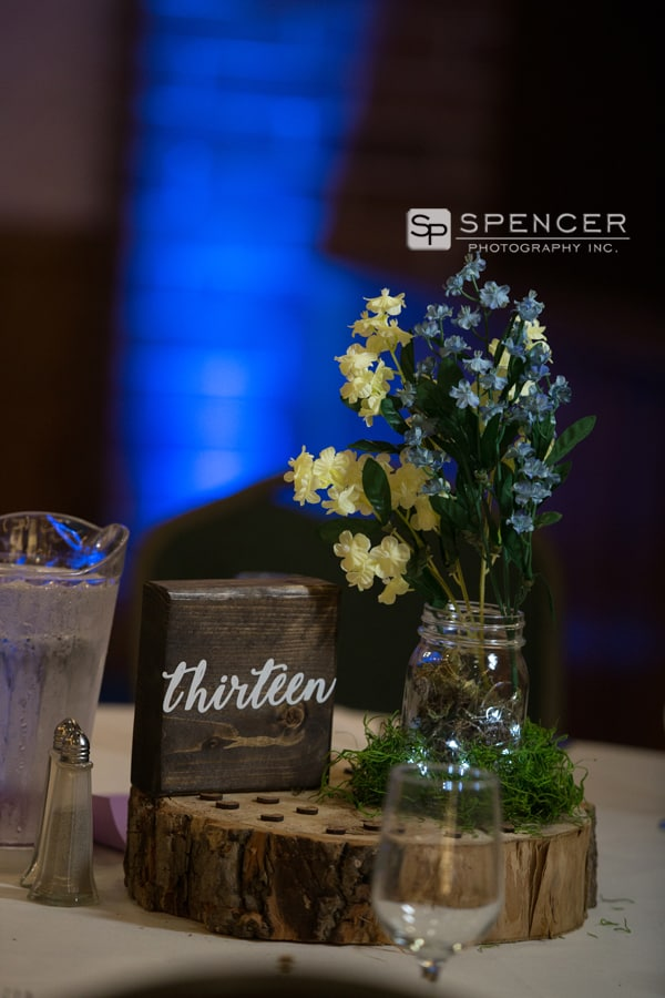 table centerpiece at olmsted falls wedding reception