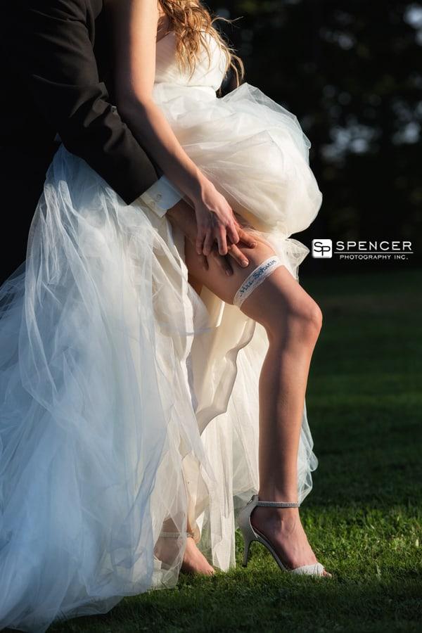 brides leg with garter
