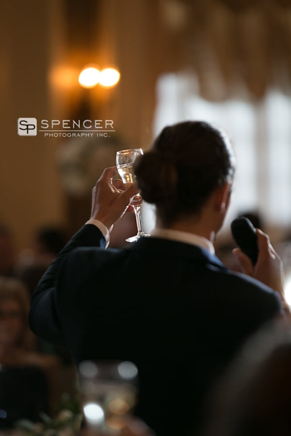 a toast at wedding reception at greystone akron