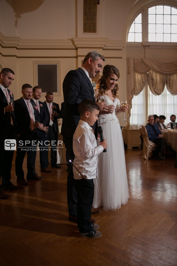 ring bearer giving reception prayer at greystone hall