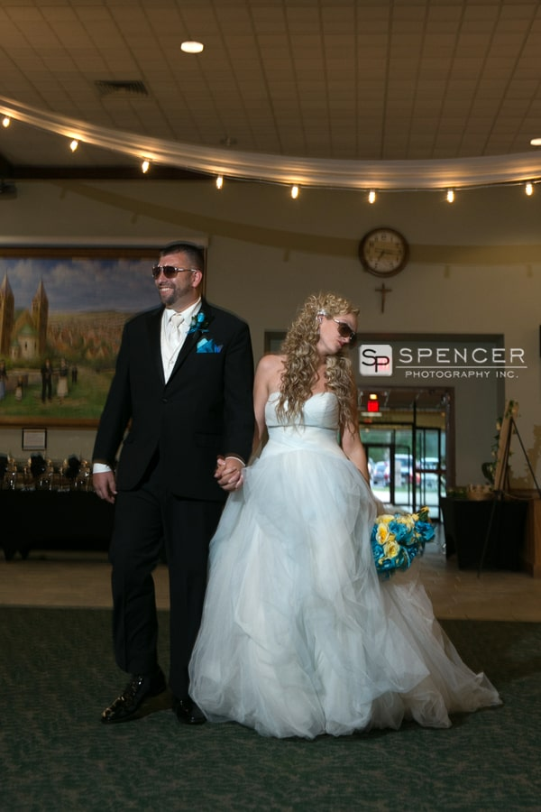 bride and groom enter wedding reception at donauschwabens