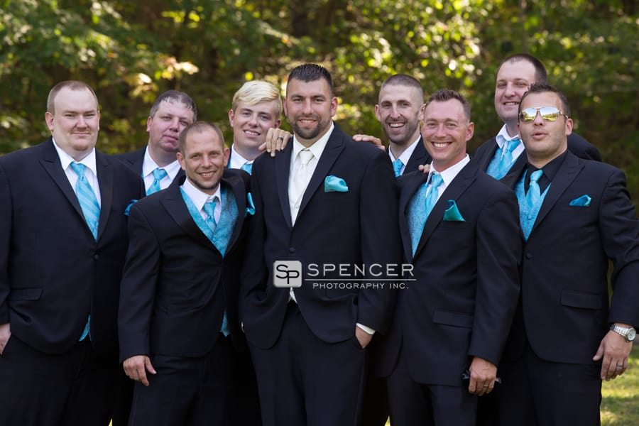 groom with groomsmen at squires castle chagrin