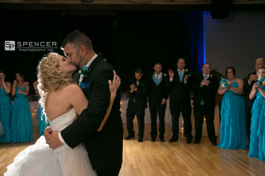 first dance kiss at wedding reception in olmsted falls