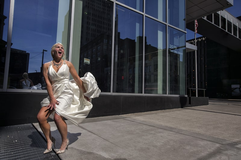 fun wedding picture in downtown cleveland