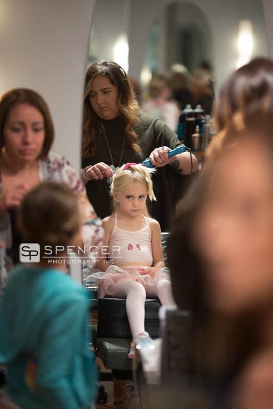 flower girl at gravity hair salon in chagrin falls
