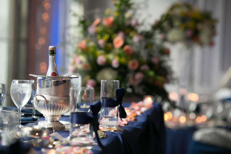 head table at wedding reception at landerhaven