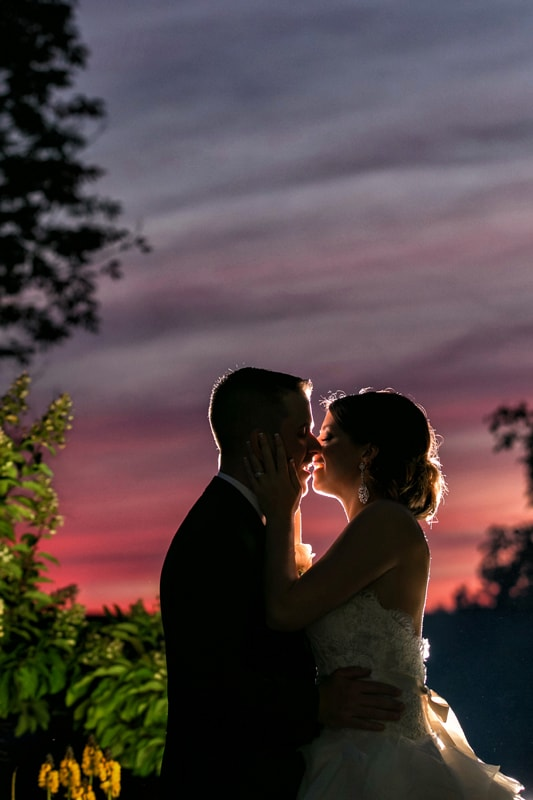 sunset picture at landerhaven wedding reception