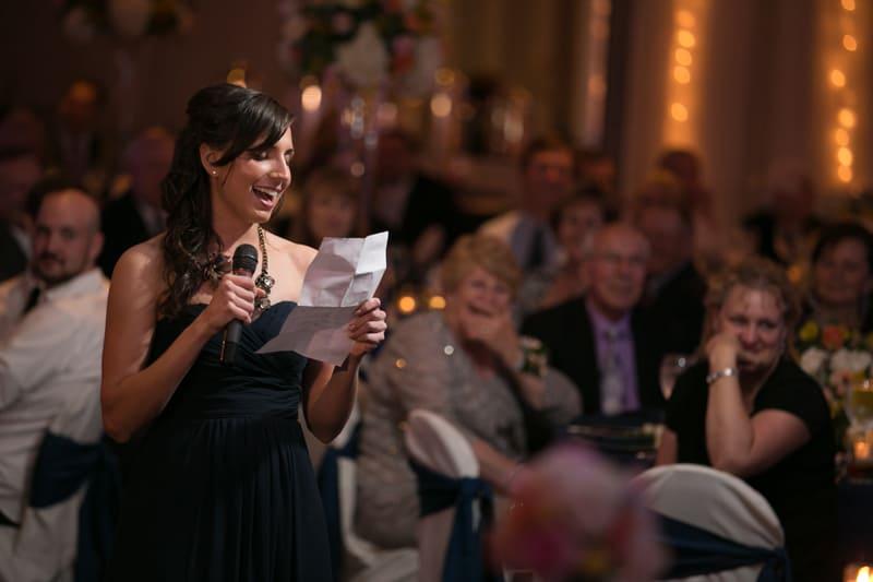 maid of honor speech at wedding reception at landerhaven
