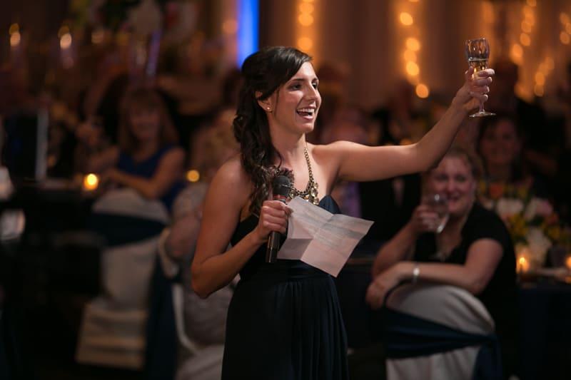 maid of honor toasts at landerhaven wedding reception
