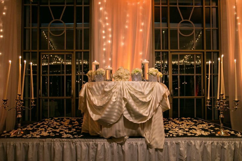 sweetheart table at wedding reception at landerhaven