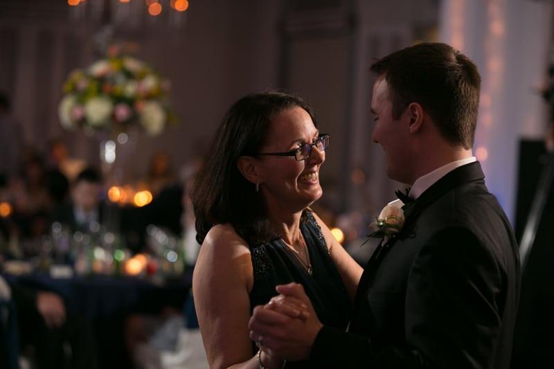 groom dancing with mom at landerhaven wedding reception