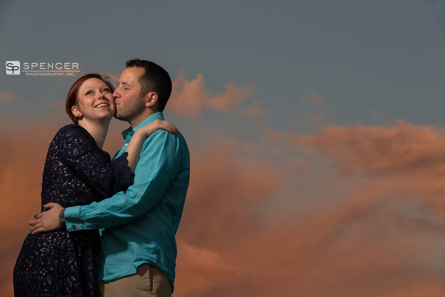 engagement picture with clouds