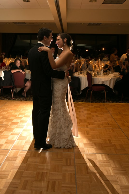 first dance at christmas wedding reception at firestone