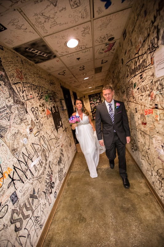 bride and groom headed to their wedding ceremony at house of blues