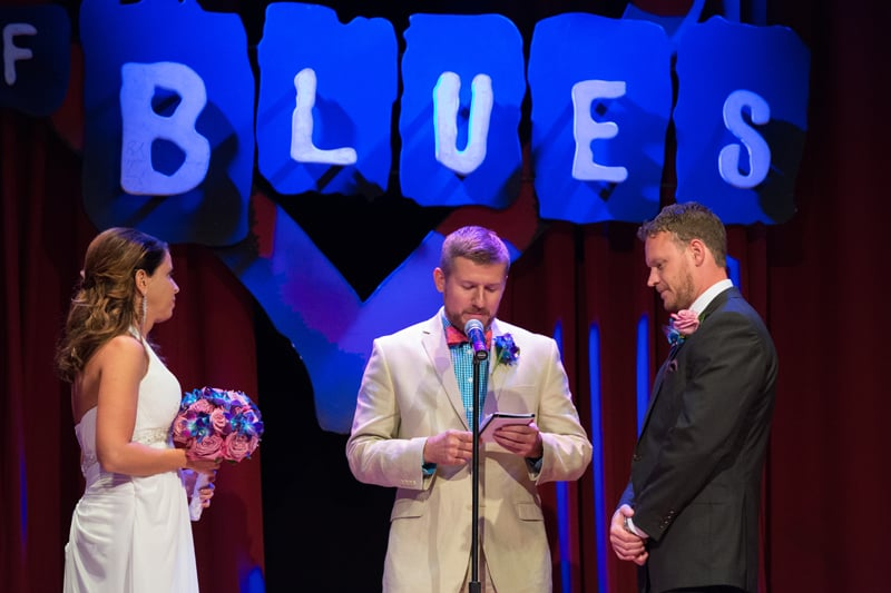 wedding ceremony on stage at house of blues